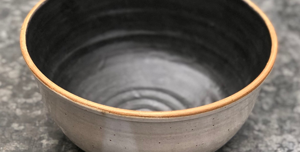 Pottery Bowl, Medium, White & Charcoal