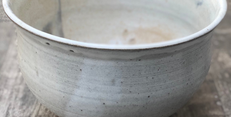 Large Pottery Planter/Bowl, White on dark brown Clay