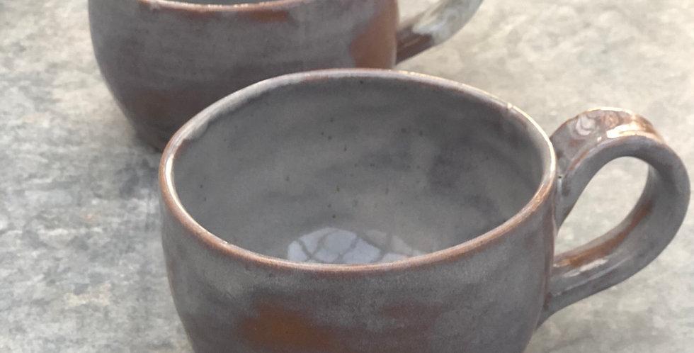 Pottery Soup Mugs, Gray Brown