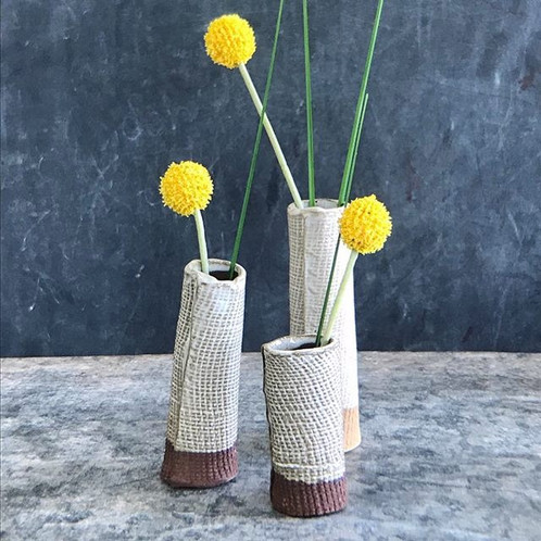Bud Vases White On Black Clay Pottery By Betsy