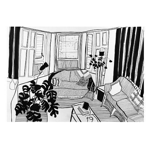 'Kiah's living room' Pen on paper A3