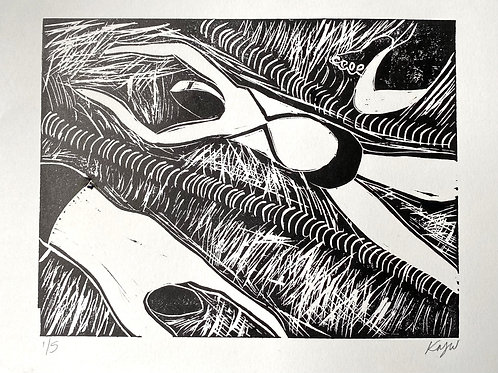 'Swimmers' A4 Linocut on paper
