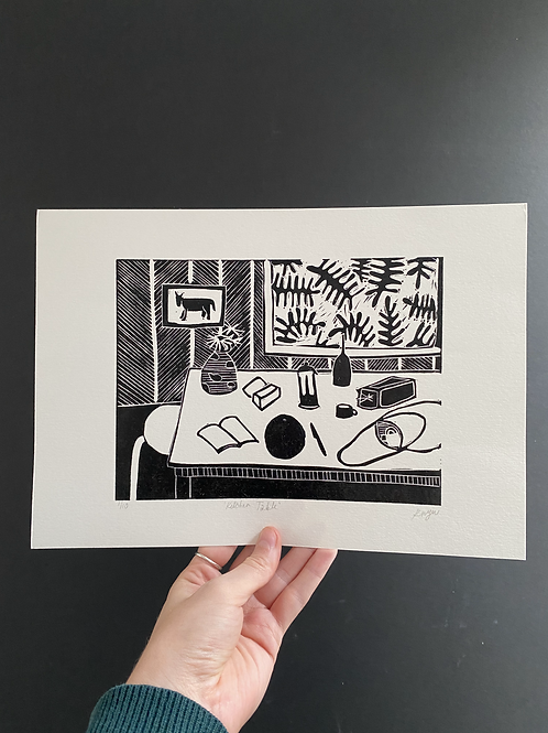 'Kitchen table' linocut on paper, A4