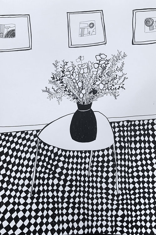 'Three Frames and a Vase' Pen on paper