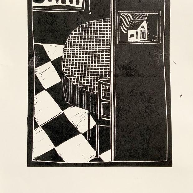 Linocut on paper