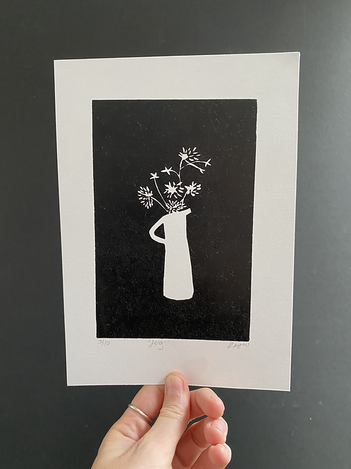 'Jug' linocut on paper, A5