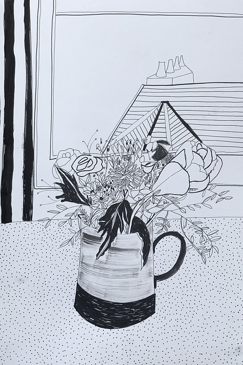'Cabbage Flower' Pen on Paper