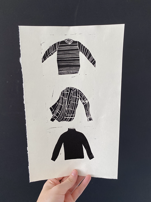 'Jumpers and shirts' linocut on paper, artist proof