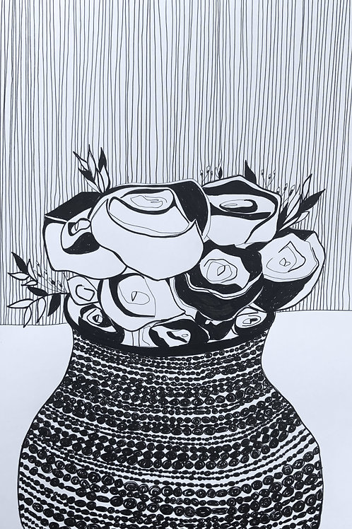 'Roses' Pen on Paper