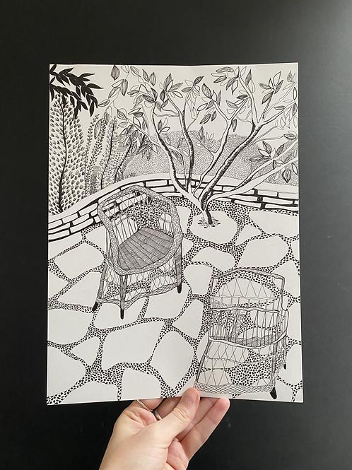 'Wicker chairs' pen on paper A4