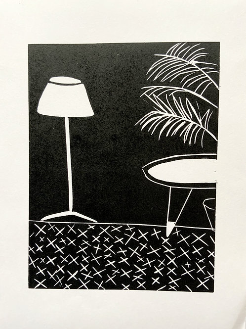 'Lamp & Plant' Limited Edition Linocut on Paper