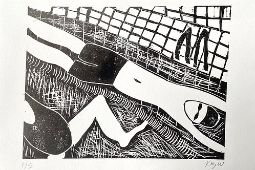 'Swim' A4 linocut on paper