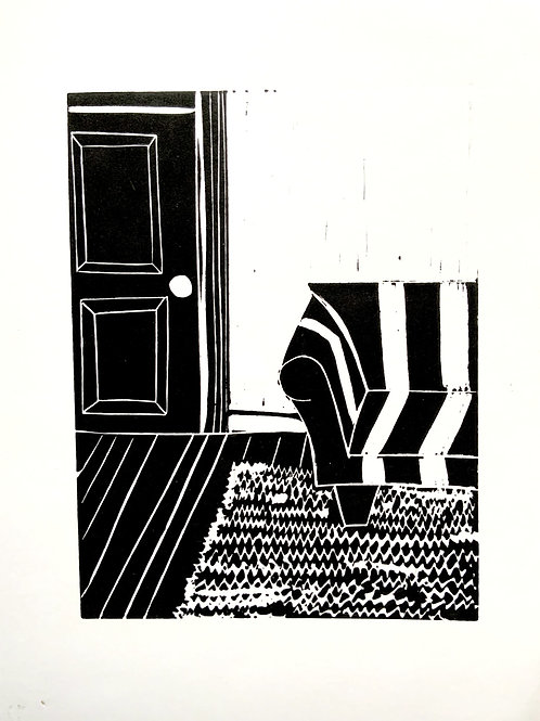 'Sofa and Door' Limited Edition Linocut on Paper