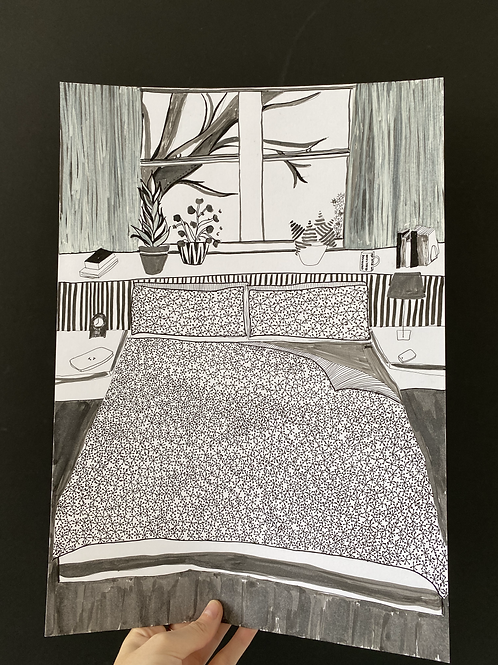 Patterned Duvet drawing, pen on paper, A3