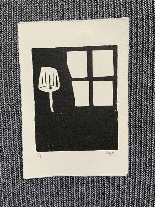 'Lamp and Window'Mono print on paper
