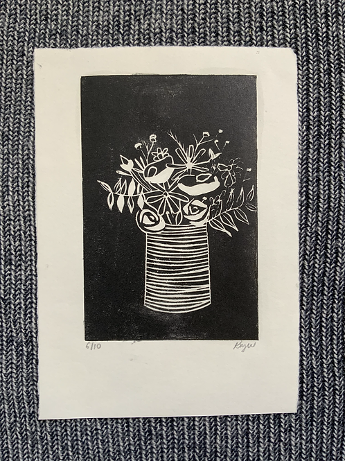 'Assorted Flowers in a Striped Vase' Lino cut on paper