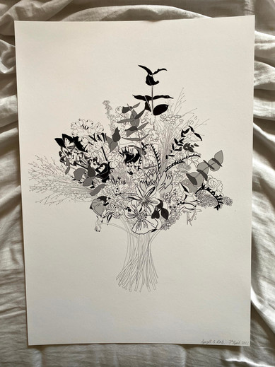 A3 print of Apryll & Rob's gorgeous wedding flowers. April 2021