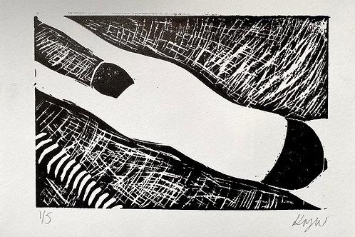 'Swam' A5 linocut on paper