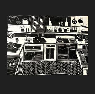 Linocut on paper, 2020