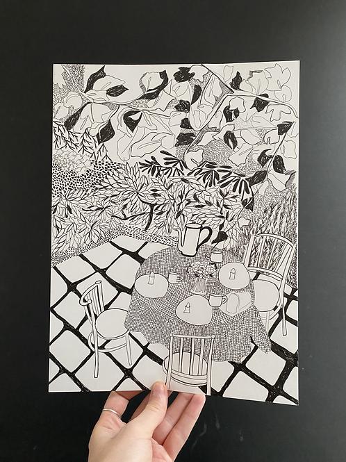 'Garden Breakfast' pen on paper, a4