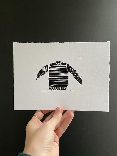 'Jumper' linocut on paper, a5, a/p