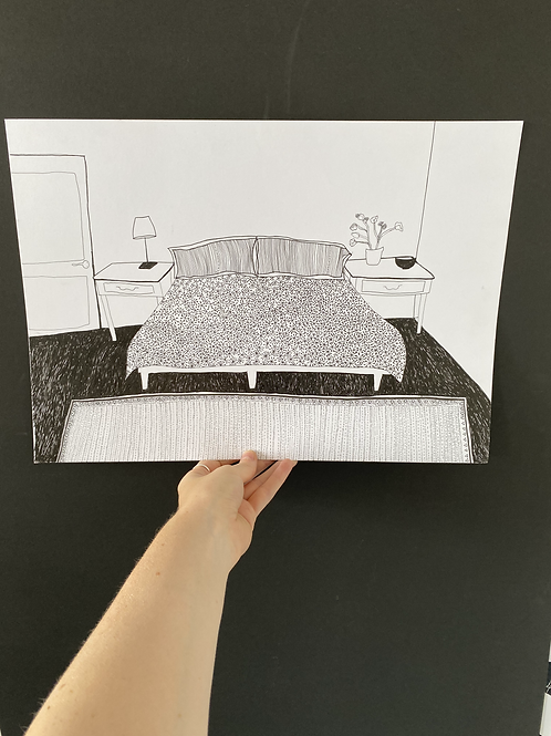 Bedroom drawing, pen on paper, A3