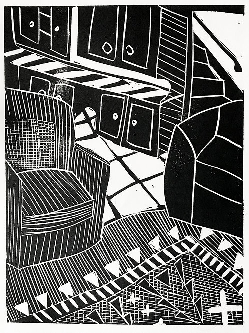 'Armchairs and Stairs' Limited Edition Linocut on Paper