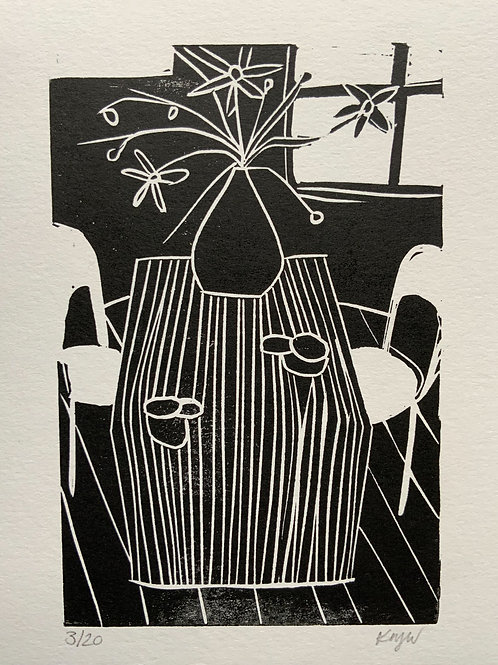 'Vase' Limited Edition Linocut on Paper