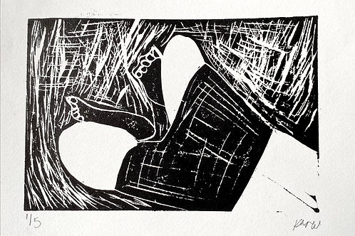 'Swimming' A5 linocut on paper