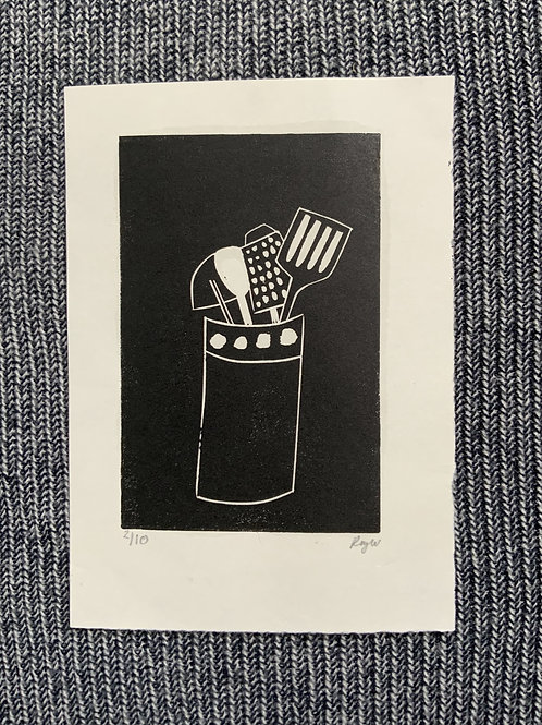'Utensils' Lino cut on paper