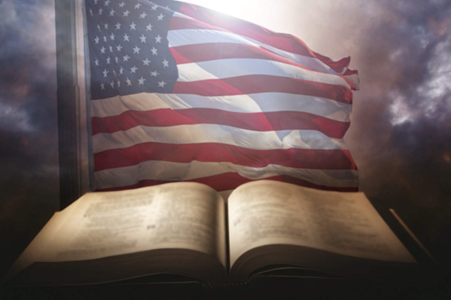 Holy Bible with the american flag in the