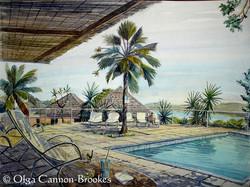 The pool at Harmony Hall, Antigua