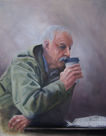 Morning Coffee and Paper 20x16 oil on li