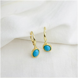 Sterling Silver Synthetic Turquoise Earrings
