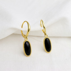 Sterling Silver Earrings with black Onyx. In Yellow Gold Plate
