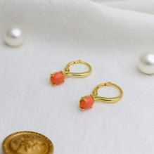 Sterling Silver Earrings with Synthetic Coral. In Yellow Gold Plate