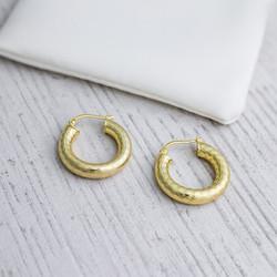 Sterling Silver Hoop Earrings. Diameter 20 mm. In Yellow Gold Plate