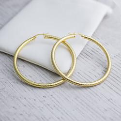 Sterling Silver Hoop Earrings. Diameter 50 mm. In Yellow Gold Plate