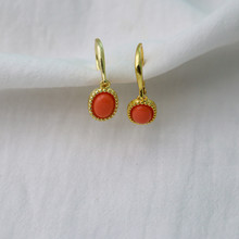 Sterling Silver Synthetic Coral Earrings