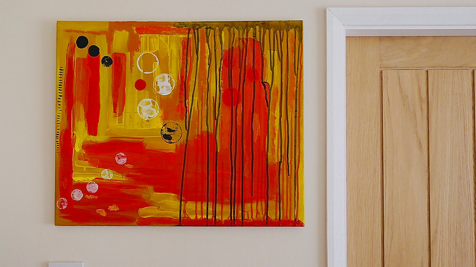 Orange and yellow abstract painting on canvas hanging on a wall   Claire Atherton Visual Artist