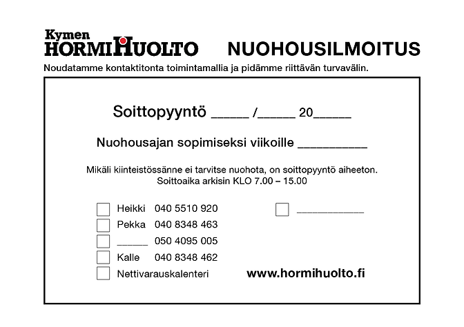Kymen Hormihuolto:nuohousilmoitus.png