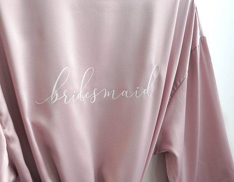 Mauve Magnolia Robe with 'Bridesmaid' Label - SAMPLE