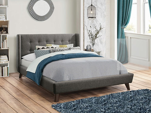 Carrington Gray Button Tufted Bed - King