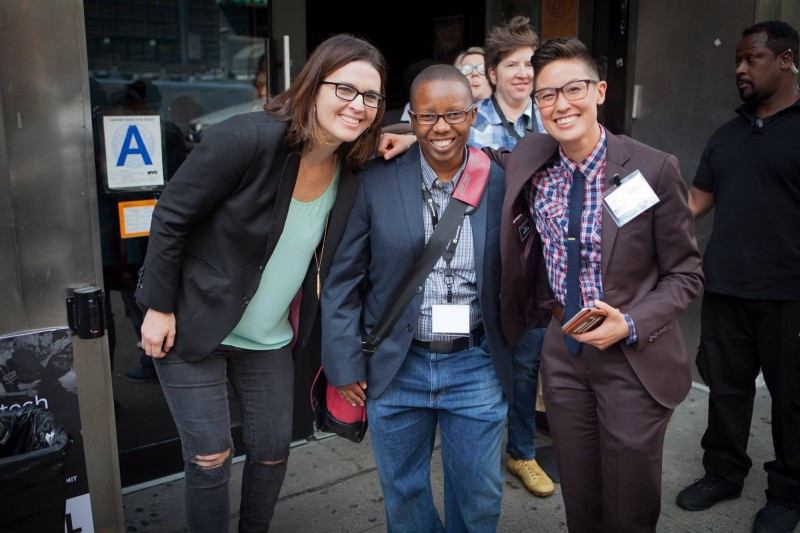 Lesbians Who Tech founder, Leanne Pittsford (l.), me (m.), and Dom Brassey (r.), VP of Growth, at the Lesbians Who Tech New York Summit in September 2017.