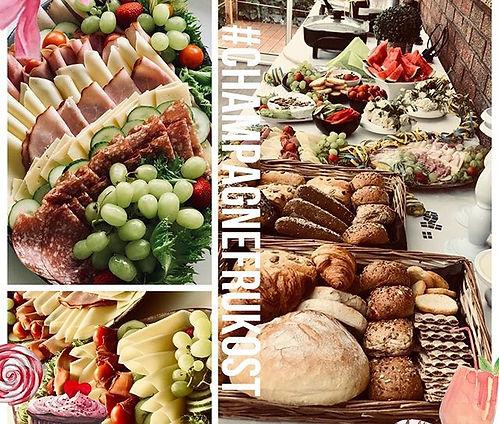 Pannkakor, äggröra, nybakade bröd, frall