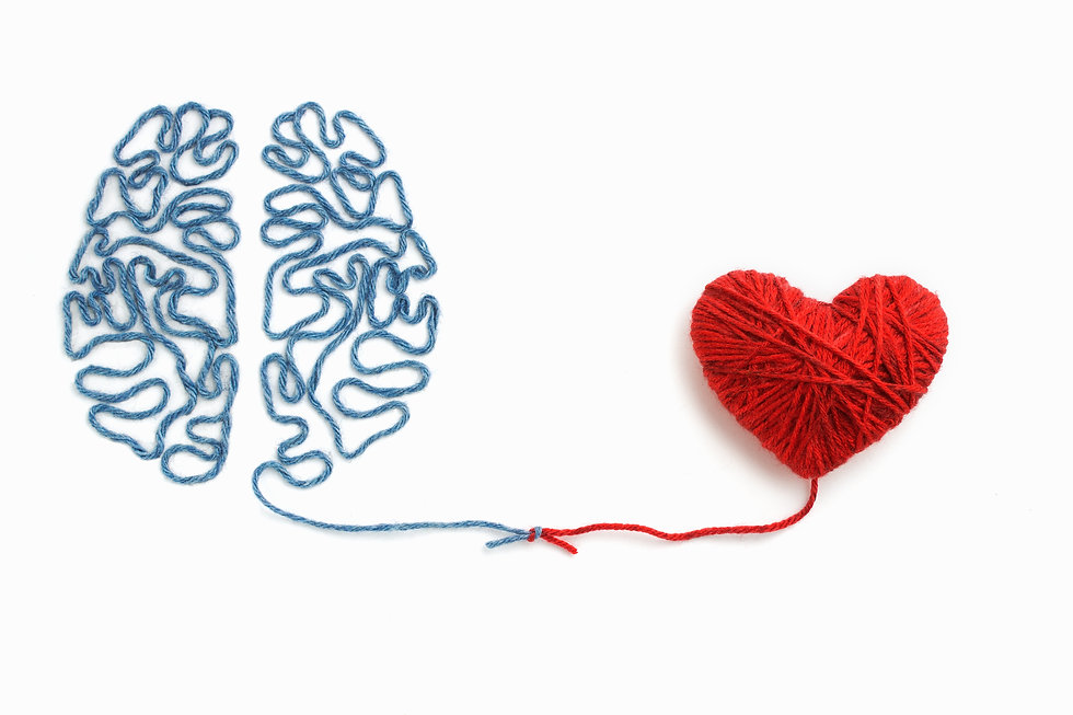 Heart and brain connected by a knot on a