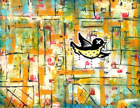 """* Select past work     BIRD IN A BROOM CLOSET  acrylic and ink on wood approx 18"""" x  22""""  featured in an episode of the ABC Studio TV series """"The Lying Game"""""""