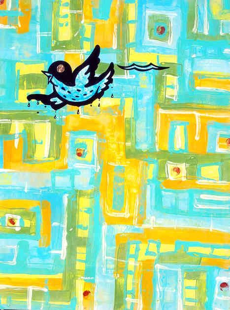 """* Select past work     FLY BACK AND FLY RIGHT  acrylic and ink on wood approx 14"""" x 9"""""""