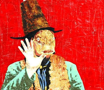 """* Select past work     TROUT MASK  acrylic on wood approx 18"""" x 22"""""""
