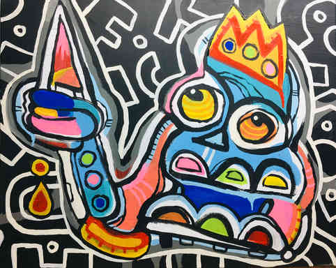 """New work, 2020!     I HAVE A RIGHT TO BE HOSTILE  acrylic on canvas 24"""" x 30""""  For Sale $325  contact if interested"""